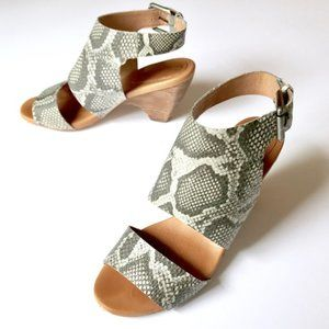 Anthro Snake Print Leather Stacked Wedges